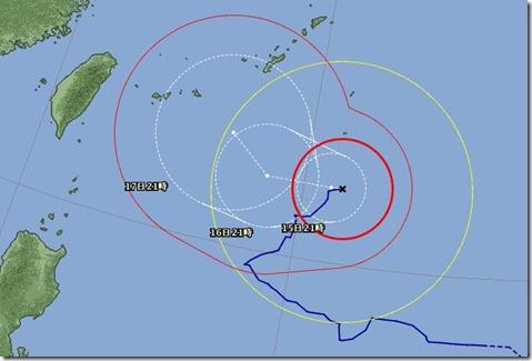 台風14日(日)午後9時tori